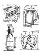 Stampers Anonymous/Tim Holtz - Cling Mount Stamp Set - Beer Blueprint - CMS334